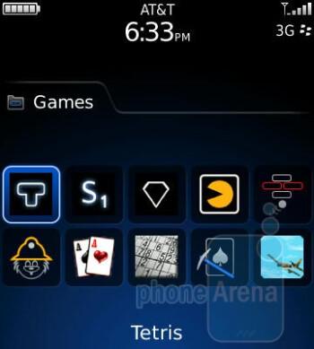 The Games menu - RIM BlackBerry Pearl 3G Review