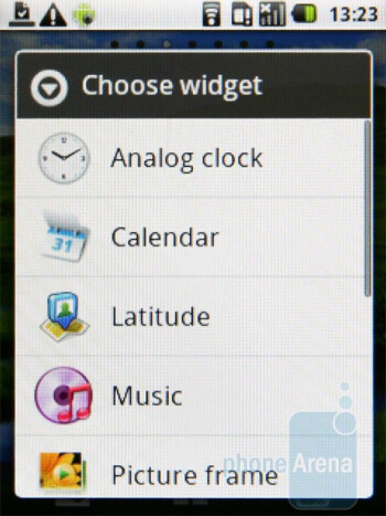 Adding widgets to the homescreen - Samsung Galaxy 5 Review