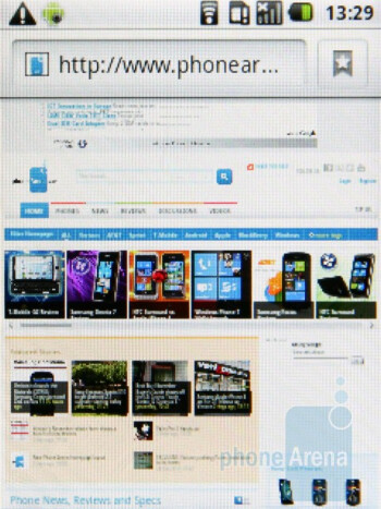 The Android browser - Samsung Galaxy 5 Review