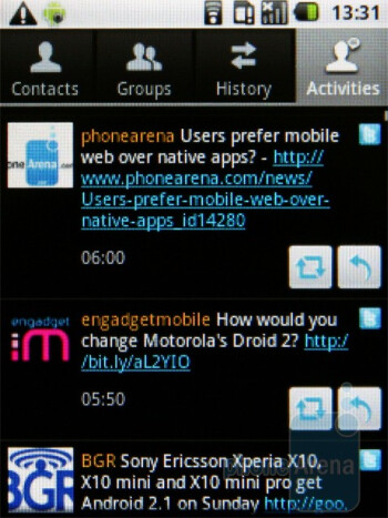 TouchWiz 3.0 aggregates your communications history - Samsung Galaxy 5 Review