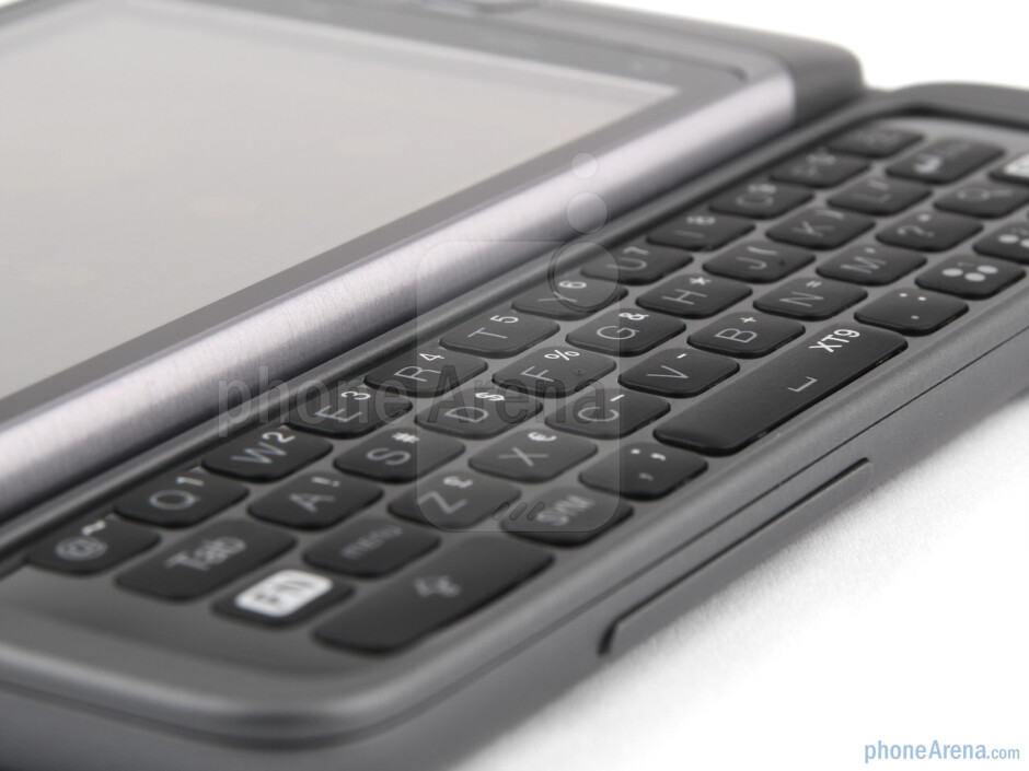 The physical keyboard has a spaced out chiclet layout with four rows of keys - HTC Desire Z Review