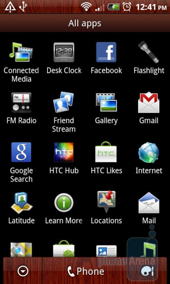 The colorful main menu is filled to the brim with Google services - HTC Desire Z Review