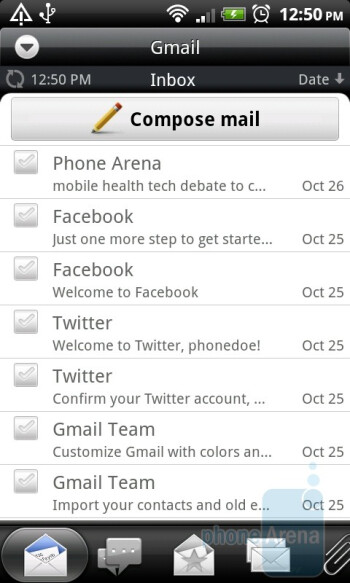 The email client of the HTC Desire Z - HTC Desire Z Review
