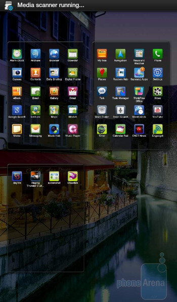 The homescreen and the menu - Samsung Galaxy Tab Review
