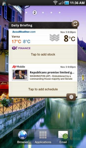 Live widgets on the Samsung Galaxy Tab - Samsung Galaxy Tab Review