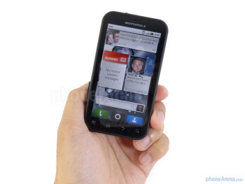 The two-tone hard plastic shell of the Motorola DEFY feels durable enough - Motorola DEFY Review