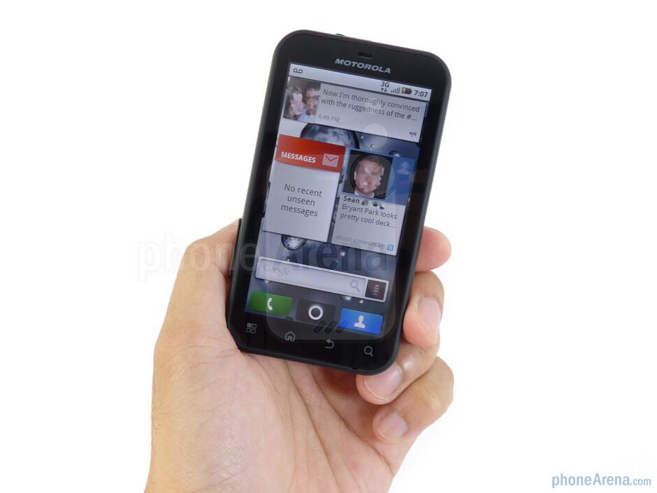 The two-tone hard plastic shell of the Motorola DEFY feels durable enough - Motorola DEFY Review