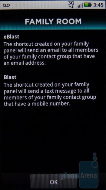"""Blast"" and ""eBlast"" shortcuts - Family Room Panel - Motorola DEFY Review"