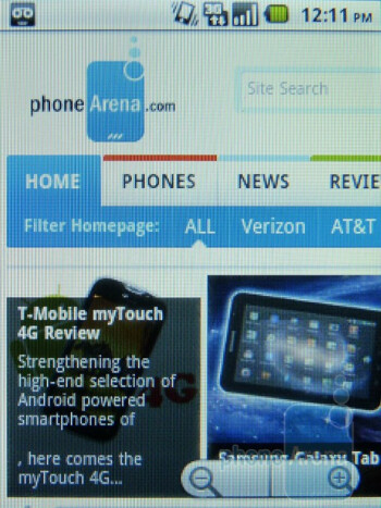 Web browsing on the T-Mobile Comet - T-Mobile Comet Review