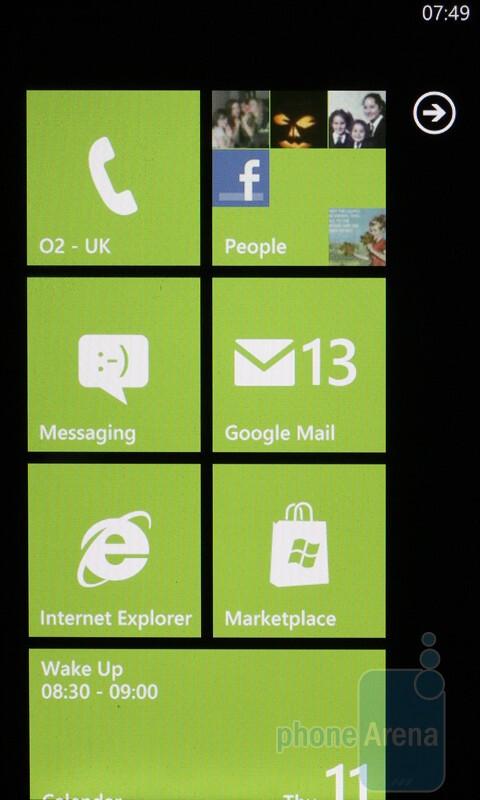 The start menu of the HTC HD7 - HTC HD7 Review