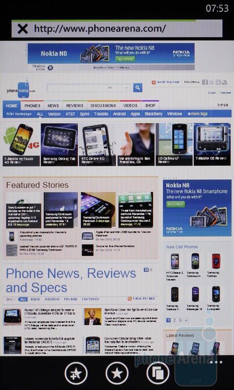 Internet Explorer interface - HTC HD7 Review