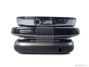 The sides of the phones - From bottom to top - HTC Surround, HTC HD7, Samsung Focus - HTC HD7 vs HTC Surround vs Samsung Focus