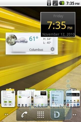 The home screen of the LG Optimus S - LG Optimus S Review