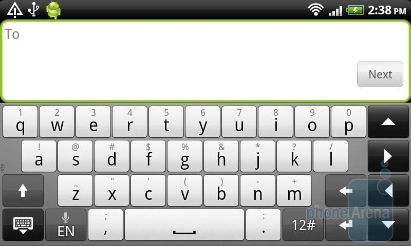 Keyboard of the HTC Desire HD - HTC Desire HD vs Samsung Galaxy S