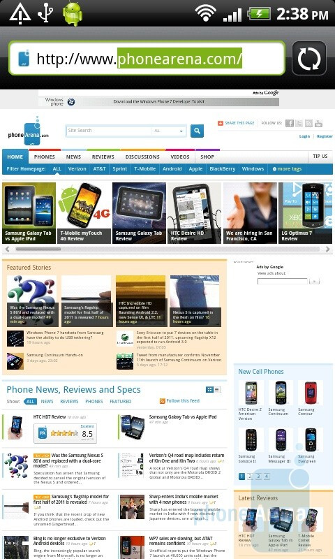 Web surfing with the HTC Desire HD - HTC Desire HD vs Samsung Galaxy S
