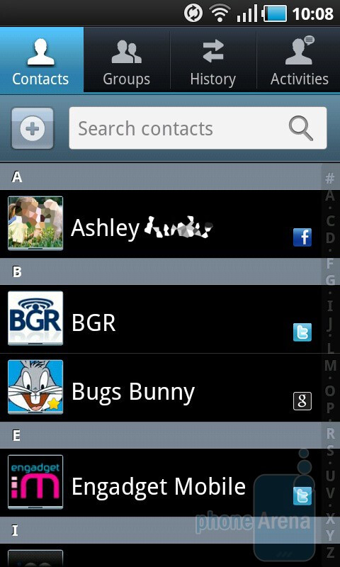 Contacts in TouchWiz 3.0 allow for a quick glimpse at anybody's Facebook account happenings - HTC Desire HD vs Samsung Galaxy S