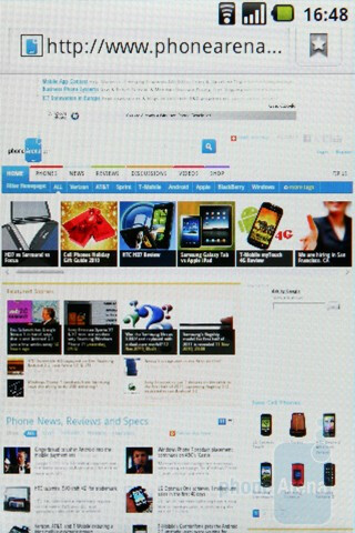 The Froyo browser of the LG Optimus One lacks Adobe Flash 10.1 support - LG Optimus One Review