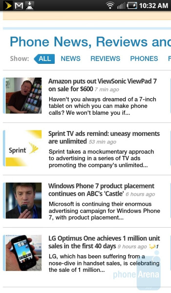 Internet browsing with the device - Samsung Galaxy Tab for the U.S. Review