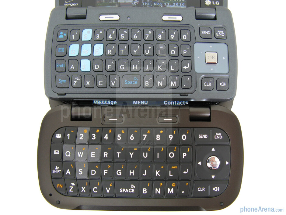 LG Octane (bottom and left) and LG enV3 (top and right) - LG Octane Review