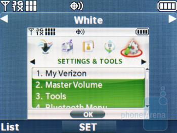 The internal home and main menu screens - LG Octane Review