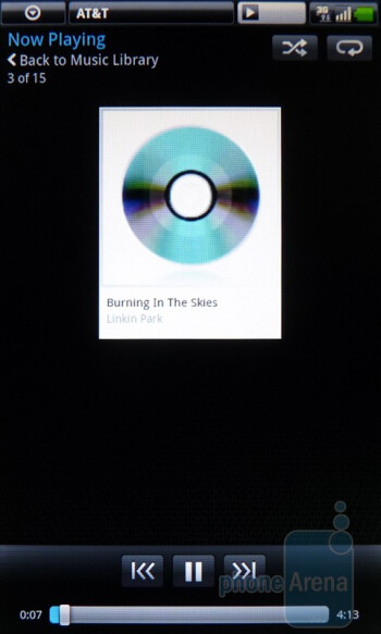 The music player of the Dell Streak - Dell Streak vs Samsung Galaxy Tab