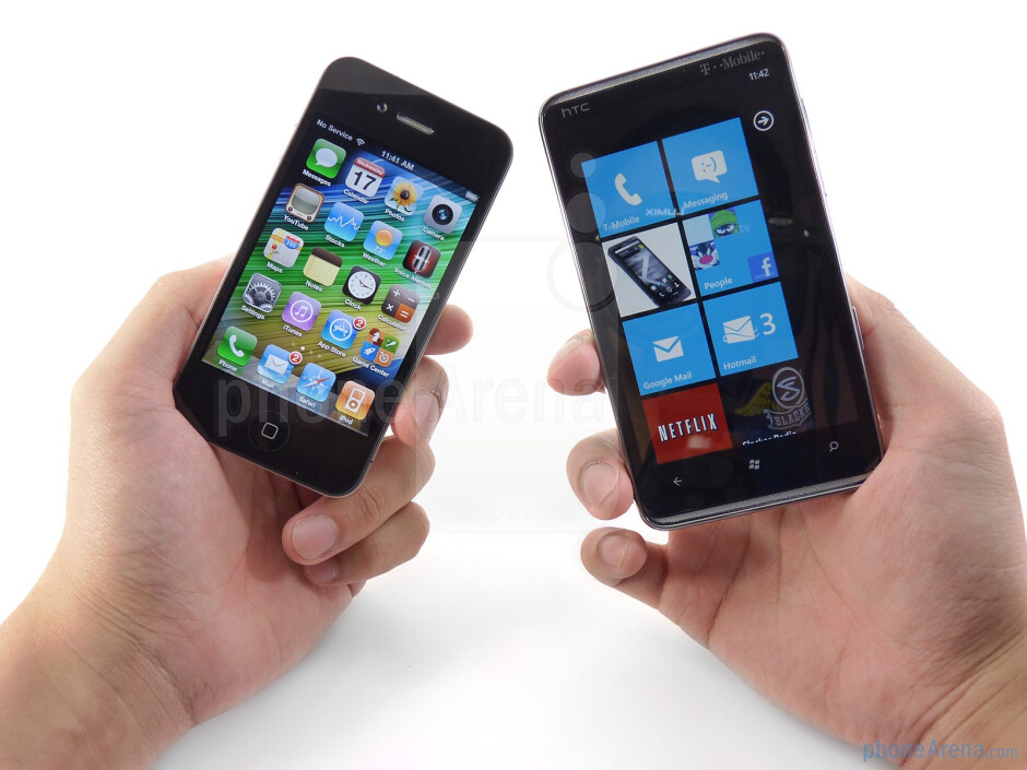 The Apple iPhone 4 (left) and the HTC HD7 (right) - HTC HD7 vs Apple iPhone 4