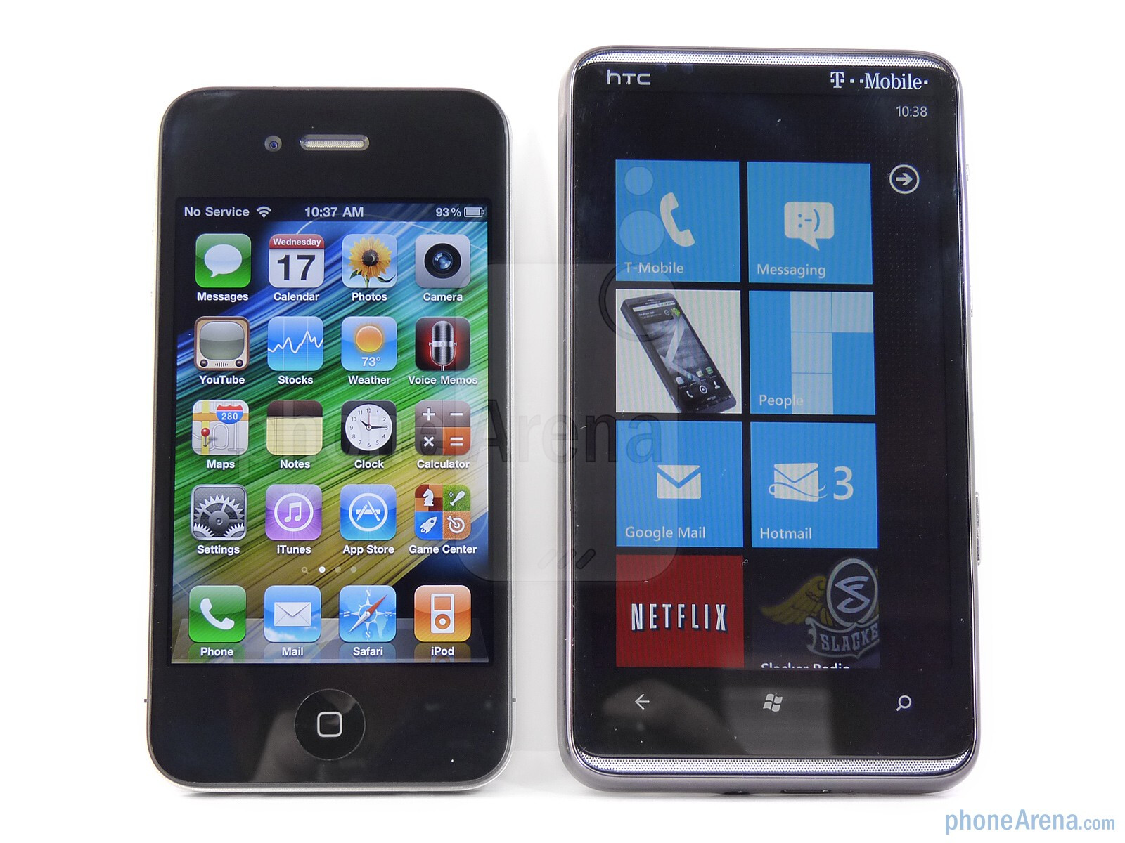 Htc Hd7 Vs Apple Iphone 4 Nokia 5800 Web Browser Diagram The Left And Right