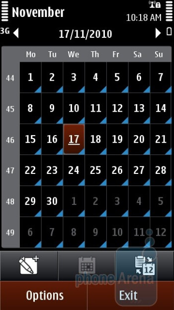 The calendar - Nokia C6-01 Review