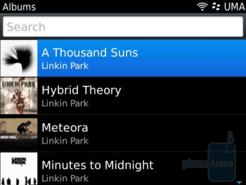 The music player interface is functional - RIM BlackBerry Bold 9780 Review