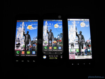 Samsung Continuum (middle), Samsung Fascinate (left), Motorola DROID X (right) - Samsung Continuum Review