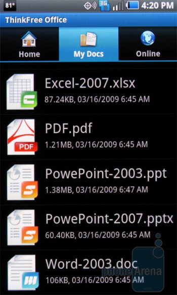 ThinkFree - Apps on the Samsung Continuum - Samsung Continuum vs Samsung Fascinate