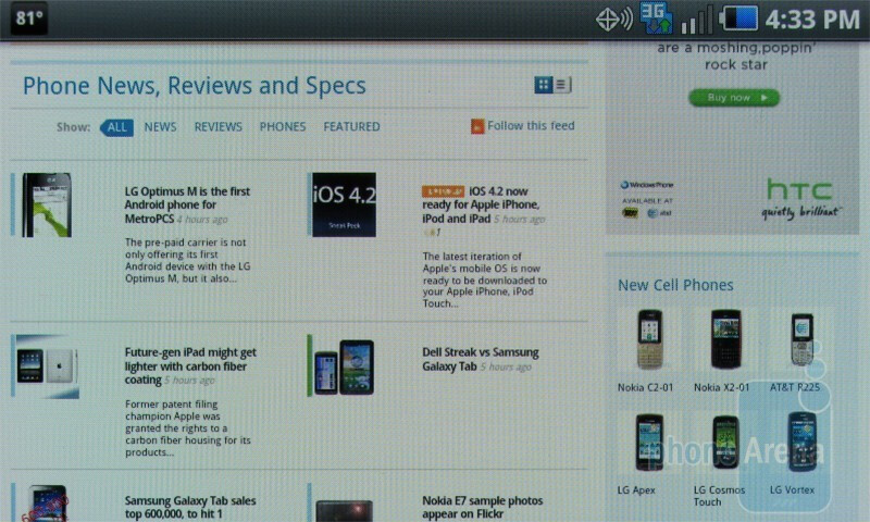 Web surfing with the Samsung Continuum - Samsung Continuum Review