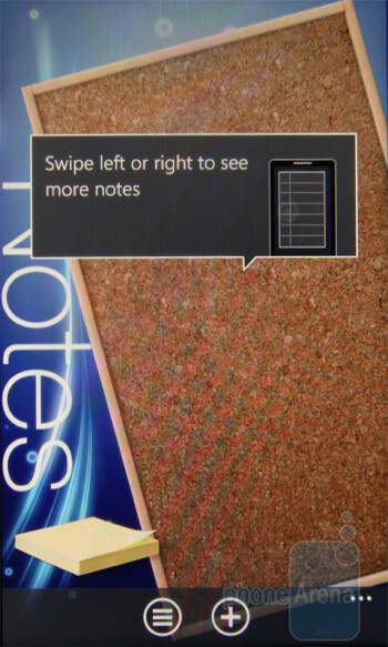 The Notes app provides some nice eye candy - HTC 7 Trophy Review