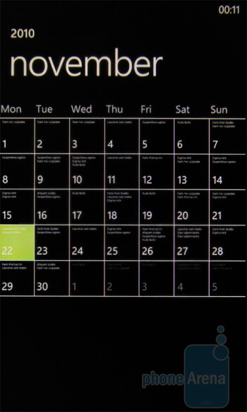 The calendar of the HTC 7 Trophy - HTC 7 Trophy Review