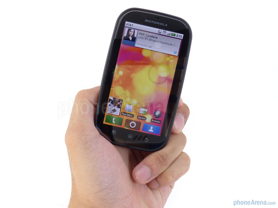 The Motorola BRAVO is fairly well-balanced and solidly constructed all around - Motorola Bravo Review