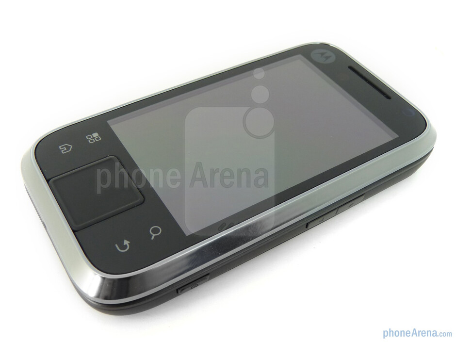 Below the display are the capacitive buttons and the optical track-pad - Motorola FLIPSIDE Review