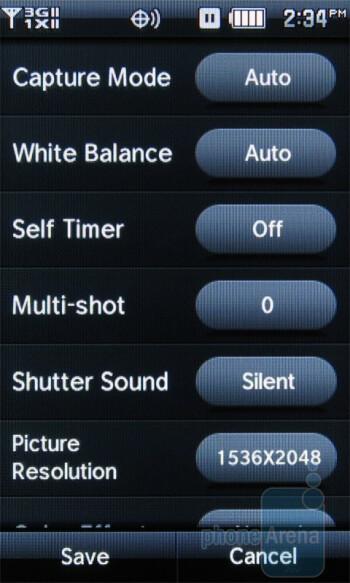 Camera interface - Pantech Crux Review