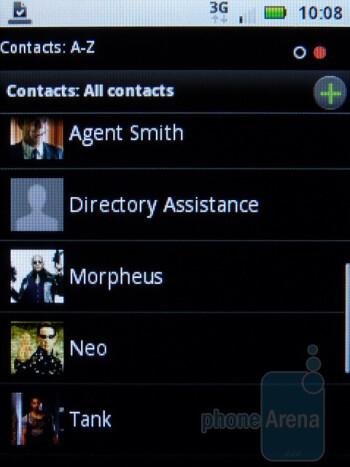 Contacts - The interface of the Motorola CITRUS - Motorola CITRUS Review