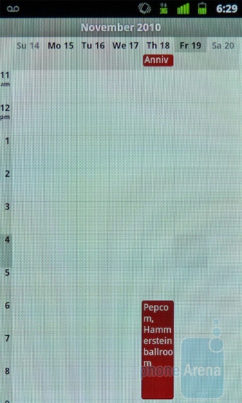 The look and feel of the Calendar is untouched - Google Nexus S Review