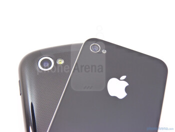 The backs of the Apple iPhone 4 (right, top) and the Google Nexus S (left, botttom) - Google Nexus S vs Apple iPhone 4