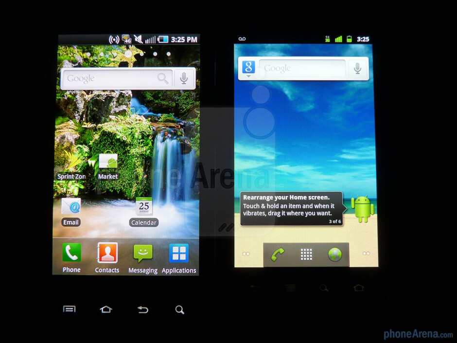 Viewing angles of the Google Nexus S (R) and the Samsung Epic 4G (L) - Google Nexus S vs Samsung Epic 4G
