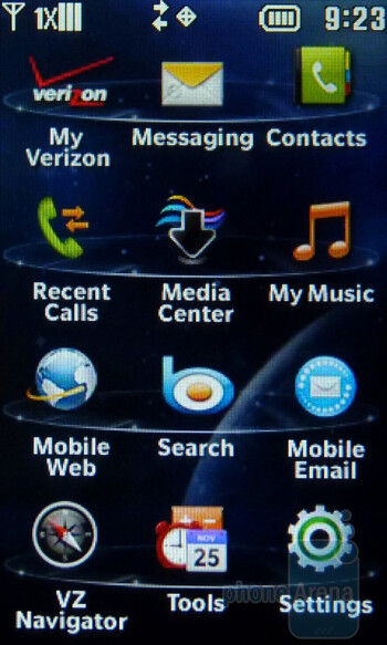 Main menu - The homescreen of the LG Cosmos Touch - LG Cosmos Touch Review