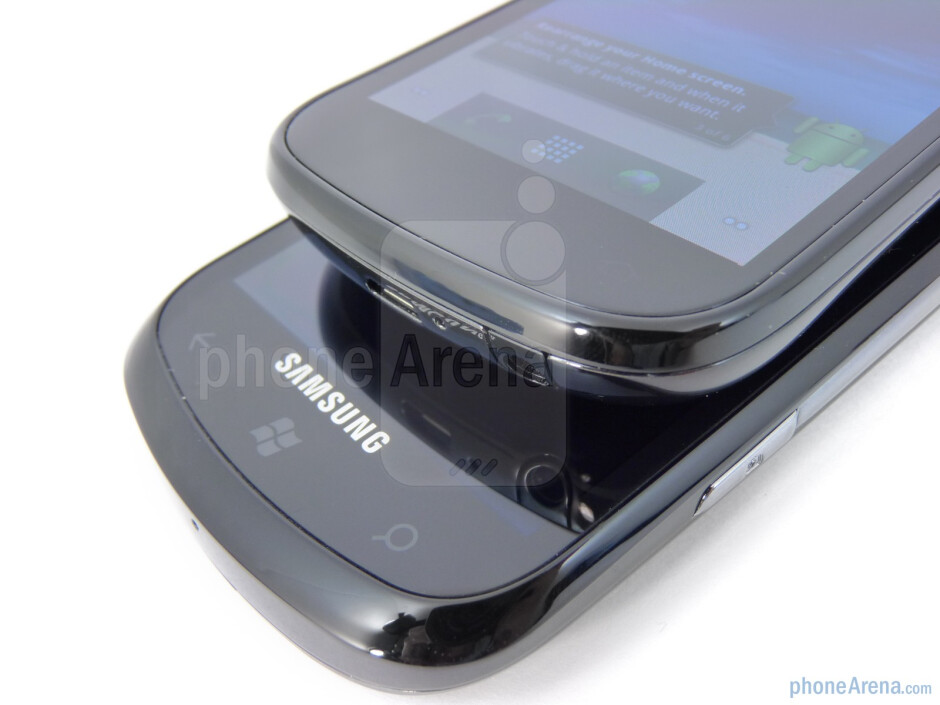 The capacitive buttons on the Samsung Focus (bottom) and the Google Nexus S (top) - Google Nexus S vs Samsung Focus