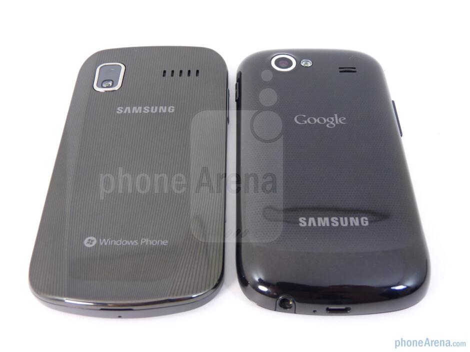 The Samsung Focus (L) and the Google Nexus S (R) have 5-megapixel camera on the back - Google Nexus S vs Samsung Focus