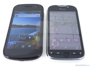 Viewing angles of the Google Nexus S (L) and the T-Mobile myTouch 4G (R) - Google Nexus S vs T-Mobile myTouch 4G
