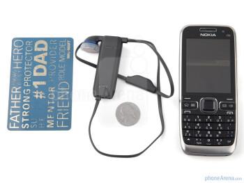 Nokia BH-218 next to the Nokia E55 - Nokia BH-218 Review