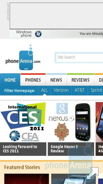 Web browser - Navigation on the Nokia C5-03 - Nokia C5-03 Review