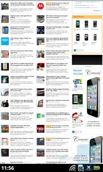 The stock Froyo browser of the Acer Liquid Metal - Acer Liquid Metal Review