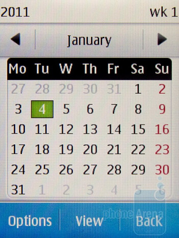 Calendar - Nokia C3 Touch and Type Review