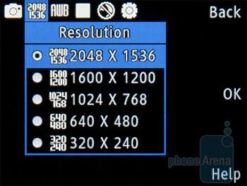 Camera interface - Samsung C3530 Review
